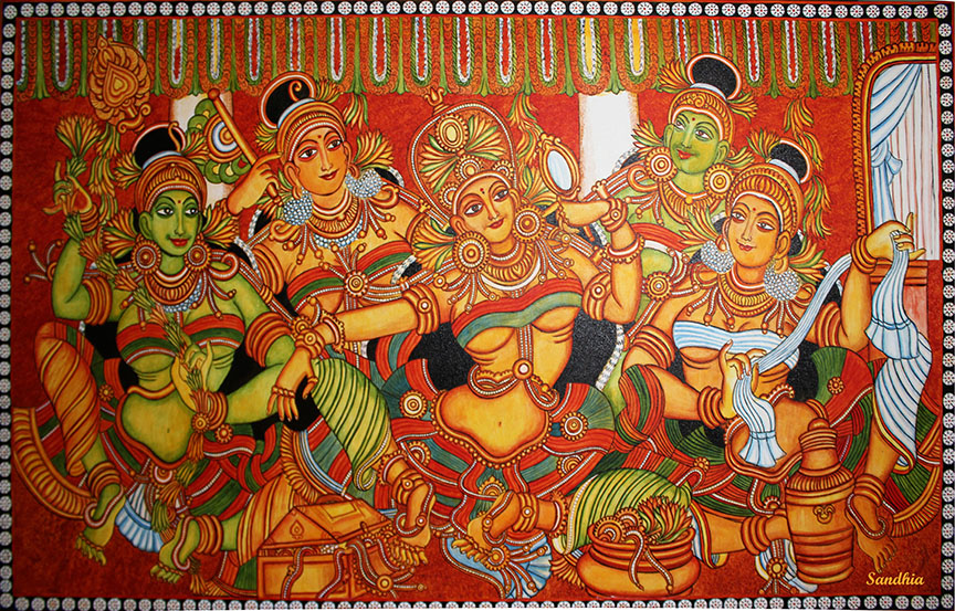 Fabric painting mural sandhia paintings kochi kerala for Aithihya mural painting fabrics